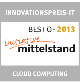 German Association for Small and Medium-sized Business<br />Best of 2013 – Innovations Award IT in the category `Cloud Computing´<br />2013