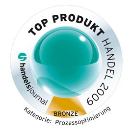 Top Produkt Handel 2009<br />Main Association of the German Retail Industry and 'handelsjournal'<br />Best products for retailers: Bronze medal category 'Process Optimisation'<br />2009