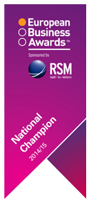 Gewinner des 'National Champion' 2014/2015<br />European Business Awards