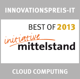 Innovations Award IT in the category `Cloud Computing´ 2013<br />German Association for Small and Medium-sized Business: Best of 2013