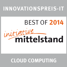 Innovations Award IT in the category `Cloud Computing´ 2014<br />German Association for Small and Medium-sized Business: Best of 2014