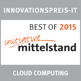 Innovations Award IT in the category `Cloud Computing´ 2015<br />German Association for Small and Medium-sized Business: Best of 2015