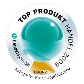 Best products for retailers: Bronze medal category 'Process Optimisation' 2009<br />Main Association of the German Retail Industry and 'handelsjournal': Top Produkt Handel 2009